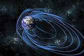 An artist's depiction of the magnetic lines of force surrounding Earth. Known as the magnetosphere, this area around the planet protects our world from the charged particles of the solar wind. Elements of this image furnished by NASA