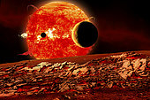 Planets are silhouetted as they transit or pass in front of a red giant star as seen from a scorching hot planetary body.