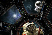 Artist's concept of astronauts outside the cupola window of the space station. An astronaut tries to warn a cosmonaut about an approaching gamma ray burst approaching the space station. Elements of this image courtesy of NASA.