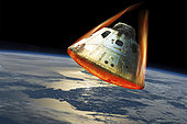 A space capsule reenters the Earth's atmosphere as it's heat shield glows from the heat of friction and burns. Elements of this image courtesy of NASA.