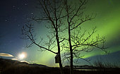 Moonset and the northern lights, Lake Laberge, Yukon Territory, Canada.