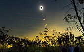 Solar eclipse composite with observers, Mulligan Highway, Queensland, Australia.