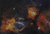 The Bubble Nebula and open star cluster in the Cassiopeia constellation.