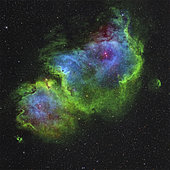 IC 1848, the Soul Nebula in Hubble-palette color mapping.