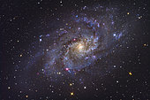 The Triangulum Galaxy (also known as Messier 33 or NGC 598) is a spiral galaxy approximately 3 million light-years away in the constellation Triangulum.