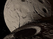 The asteroid Hektor may have been formed when two asteroids collided. The result was a bi-lobed body resembling a peanut. This view looks across the valley separating the lobes.
