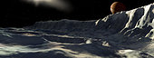 Jupiter's large moon, Callisto, is an icy world. Many steep cliffs, called scarps, criss-cross its surface.