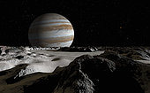 Jupiter's large moon, Europa, is covered by a thick crust of ice above a vast ocean of liquid water.