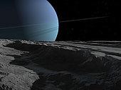 A scene on the tortured, wrinkled terrain of Miranda, one of Uranus' many moons.