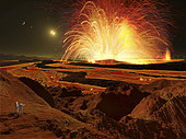 Future astronauts observing an eruption on Io, Jupiter's super-volcanic moon.