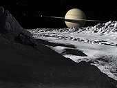 Saturn's moon, Tethys, is split by an enormous valley called Ithaca Chasma.