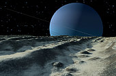 Uranus' moon Miranda is covered with meandering cracks and grooves.