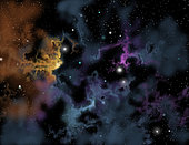 Illustration of a gaseous nebula from which star formation may occur.