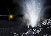 Astronauts observing the Fountains of Enceladus, giant geysers of water ice crystal shooting hundreds of miles into space. They emanate from giant fissures in the icy crust of the moon.