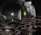 Pluto may have hot springs and geysers erupting liquid oxygen and nitrogen.