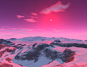 A hypothetical planet orbiting a red dwarf star. The planet is frozen because red dwarfs are small, cool stars.