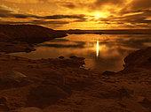 A lake of liquid methane on Saturn's giant moon, Titan.