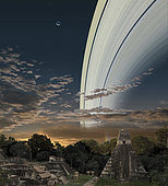 Artist's concept of Earth's planetary rings over Guatemala.