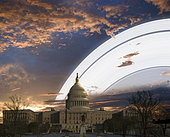 Artist's concept of Earth's planetary rings over the Capitol building in Washington D.C.