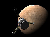 Orion-drive spacecraft approaching Mars, with habitat modules extended for centripetal gravity.