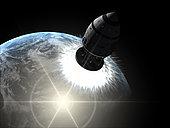 Orion-drive spacecraft leaving Earth orbit.