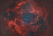 The Rosette Nebula in the Monoceros region of the Milky Way Galaxy.