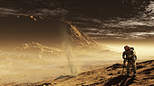 A lone astronaut drills into the regolith of Gale Crater with only a passing dust devil as company. The astronaut's hab can be seen in the distance and is dwarfed by the crater's 5km high central mound.