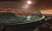 Some time in the future, Gale Crater may be enclosed in a protective dome to create an Earth like ecosphere.