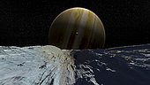 The smooth ice field of Europa might contain a subsurface ocean filled with alien life.