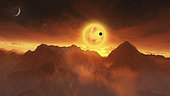 A red dwarf star sets over mountainous terrain of an exoplanet system. One planet passes in front of the star while another is in the sky as a crescent. Stars are visible in the thin atmosphere of this mountainous planet.