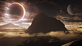 The dwarf star of an exoplanet is almost totally eclipsed by one of its three moons.