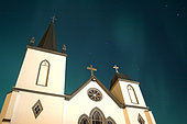 November 20, 2003 - Aurora above church, Kincolith, British Columbia, Canada.