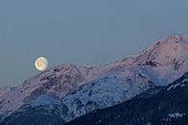 February 15, 2006 - Moonset and Alpenglow, New Aiyansh, British Columbia, Canada.