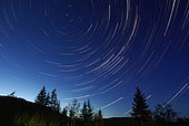June 14, 2008 - Star Trails at Dusk, Lumby, British Columbia, Canada.