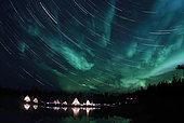 September 8, 2008 - Aurora and Star Trails, Aurora Lake, Yellowknife, Northwest Territories, Canada.