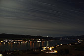 October 14, 2008 - Star trails over Okanagan Lake, Vernon, British Columbia, Canada.
