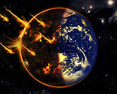 A swarm of deadly meteorites impact Earth on Armageddon day.