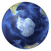 3D rendering of planet Earth with clouds, centered on the South Pole.