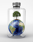 Planet Earth with a tree on top, inside a glass bottle.