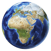 3D illustration of planet Earth globe on white background, centered on Africa, Asia and Europe.