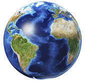3D illustration of planet Earth globe on white background, centered on the Atlantic Ocean, without clouds.