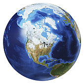 3D illustration of planet Earth globe on white background, centered on North America, without clouds.
