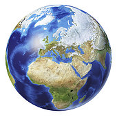 3D illustration of planet Earth globe on white background, centered on Europe, Africa and Asia.