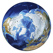 3D illustration of planet Earth globe on white background, centered on the Arctic and North Pole, without clouds.