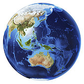 3D illustration of planet Earth globe on white background, centered on Oceania, without clouds.