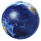 3D illustration of planet Earth globe on white background, centered on the Pacific Ocean, without clouds.