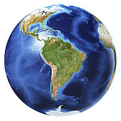 3D illustration of planet Earth globe on white background, centered on South America, without clouds.