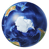 3D illustration of planet Earth globe on white background, centered on the South Pole, without clouds.