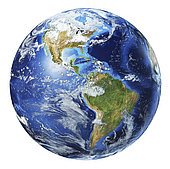 3D illustration of planet Earth globe on white background, centered on North America and South America.