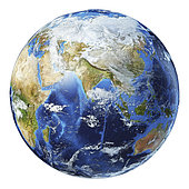 3D illustration of planet Earth globe on white background, centered on Asia.